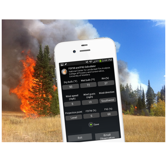 Smart phone displaying fire weather app near forest fire