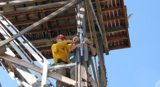 installing network equipment on fire tower